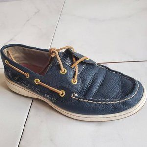 Sperry Navy Blue Leather Top-Siders Whale Print